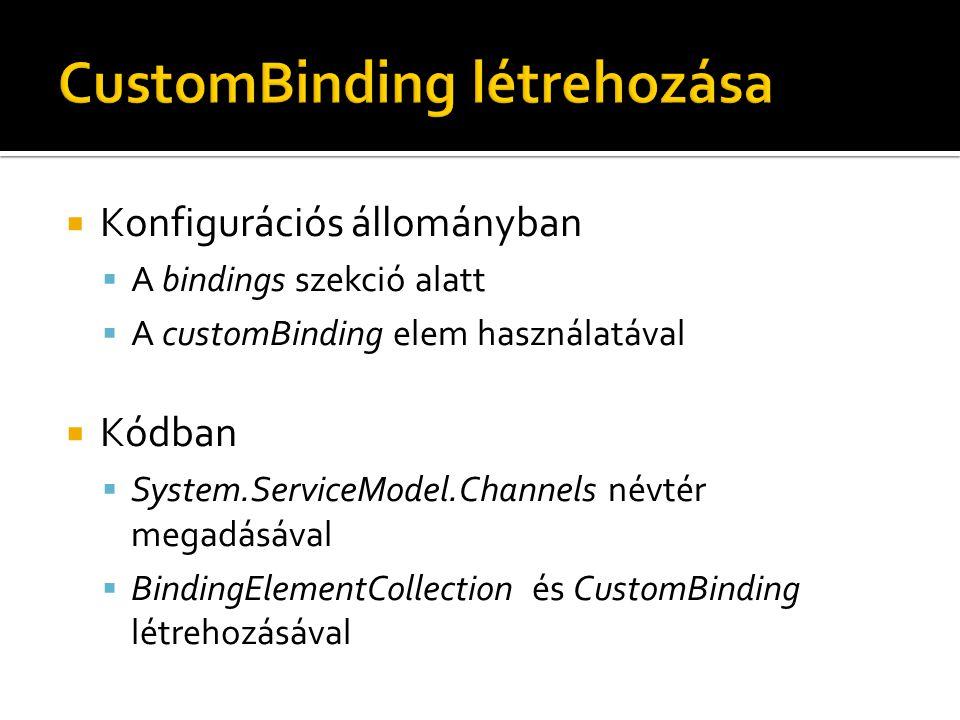  Konfigurációs állományban  A bindings szekció alatt  A customBinding elem használatával  Kódban  System.ServiceModel.Channels névtér megadásával  BindingElementCollection és CustomBinding létrehozásával