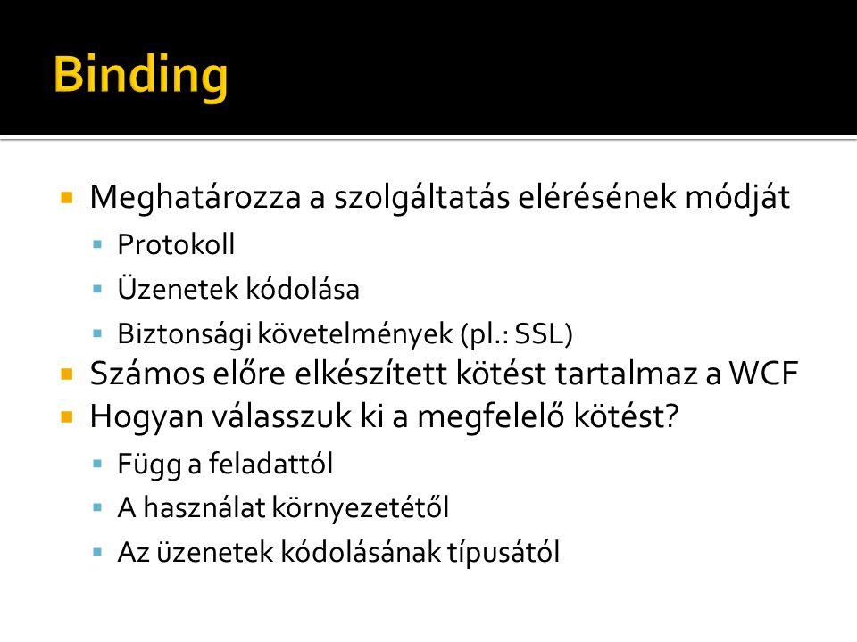 ElemLeírás Szolgáltatások ( ), végpontok (endpointBehaviors) viselkedésének leírásához.