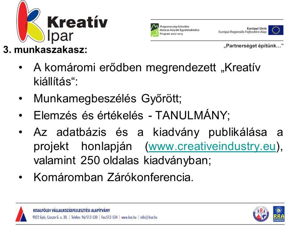 """A komáromi erődben megrendezett """"Kreatív kiállítás : Munkamegbeszélés Győrött; Elemzés és értékelés - TANULMÁNY; Az adatbázis és a kiadvány publikálása a projekt honlapján (www.creativeindustry.eu), valamint 250 oldalas kiadványban;www.creativeindustry.eu Komáromban Zárókonferencia."""