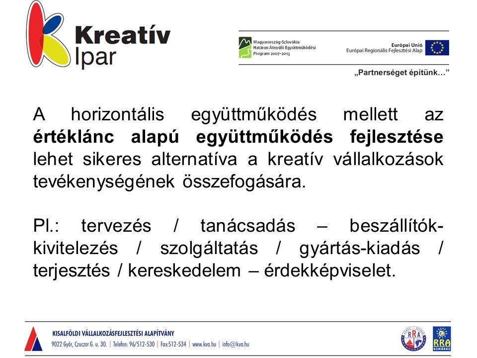 A horizontális együttműködés mellett az értéklánc alapú együttműködés fejlesztése lehet sikeres alternatíva a kreatív vállalkozások tevékenységének ös