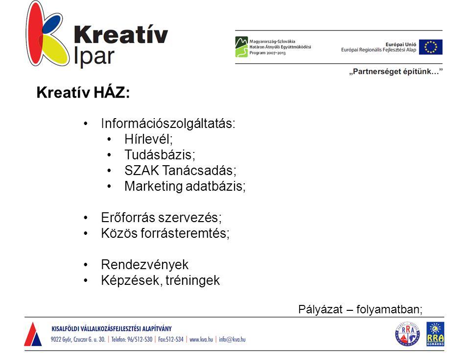 Kreatív HÁZ: Információszolgáltatás: Hírlevél; Tudásbázis; SZAK Tanácsadás; Marketing adatbázis; Erőforrás szervezés; Közös forrásteremtés; Rendezvények Képzések, tréningek Pályázat – folyamatban;