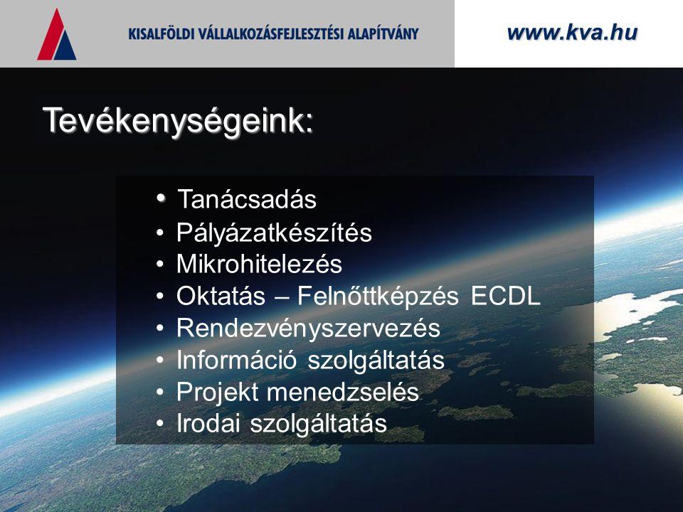 www.kva.hu Tanácsadás Pályázatkészítés Mikrohitelezés Oktatás – Felnőttképzés ECDL Rendezvényszervezés Információ szolgáltatás Projekt menedzselés Irodai szolgáltatás Tevékenységeink: