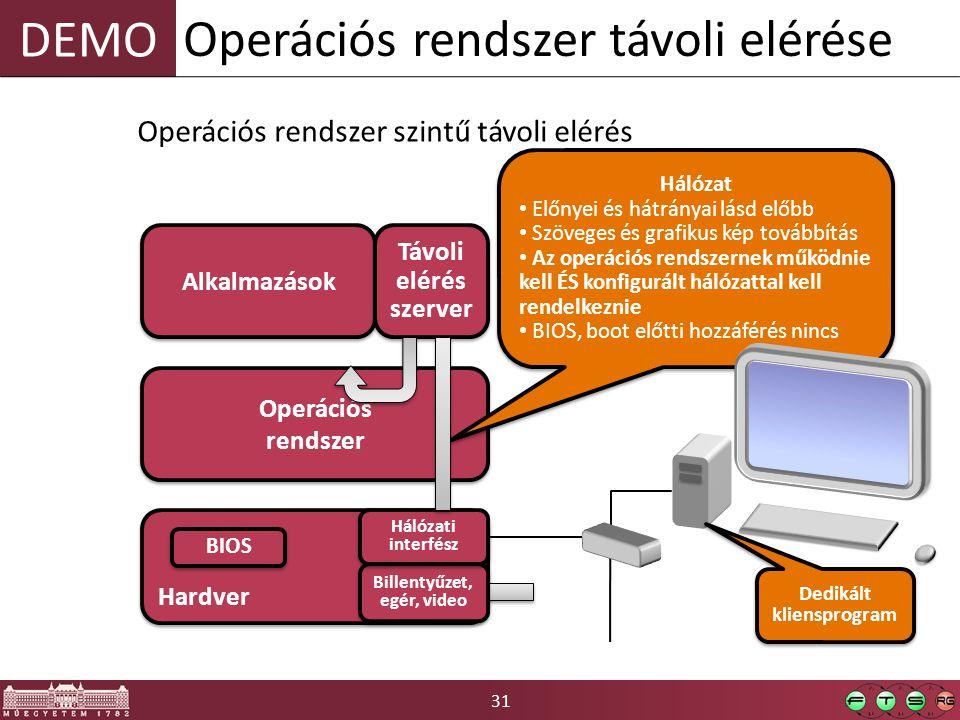 31 DEMO Operációs rendszer távoli elérése Hardver BIOS Operációs rendszer Alkalmazások Billentyűzet, egér, video Billentyűzet, egér, video Operációs rendszer szintű távoli elérés Távoli elérés szerver Hálózat Előnyei és hátrányai lásd előbb Szöveges és grafikus kép továbbítás Az operációs rendszernek működnie kell ÉS konfigurált hálózattal kell rendelkeznie BIOS, boot előtti hozzáférés nincs Hálózat Előnyei és hátrányai lásd előbb Szöveges és grafikus kép továbbítás Az operációs rendszernek működnie kell ÉS konfigurált hálózattal kell rendelkeznie BIOS, boot előtti hozzáférés nincs Dedikált kliensprogram Hálózati interfész