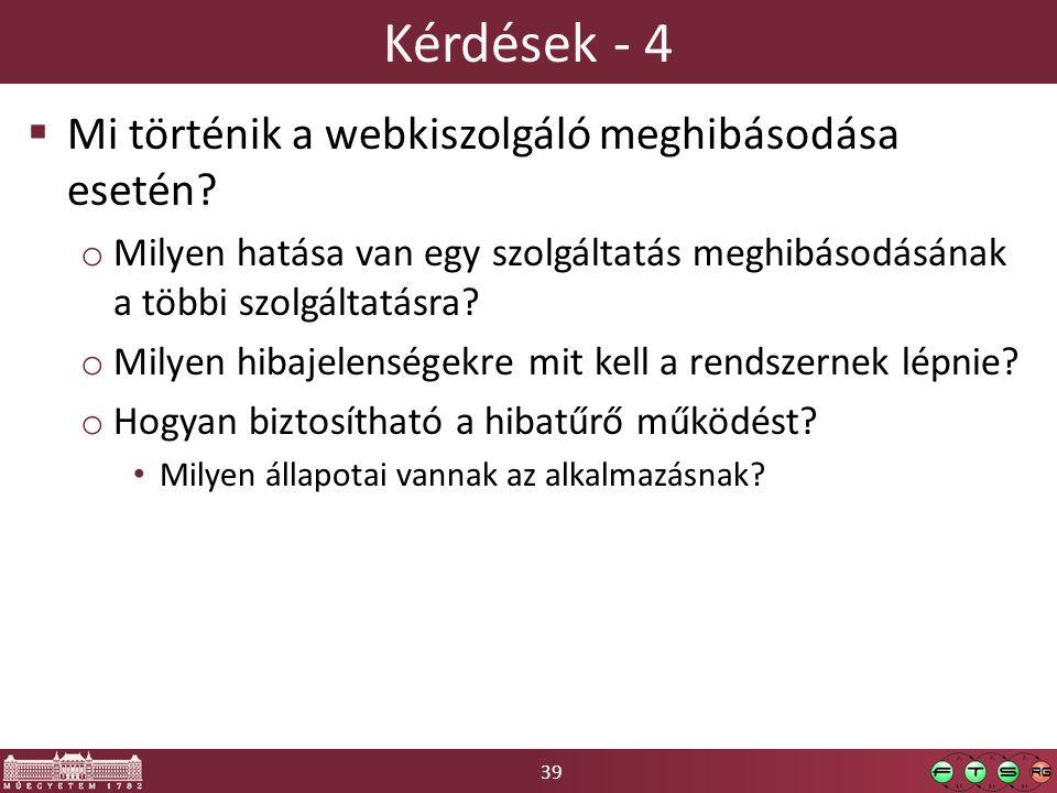 39 Kérdések - 4  Mi történik a webkiszolgáló meghibásodása esetén.