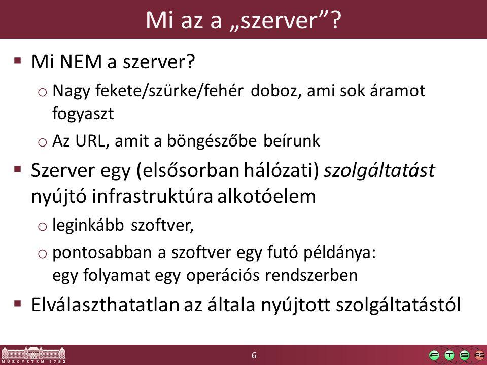 17 Hálózatok ismétlés Alkalmazási réteg: pl.HTTP vagy SSH, stb.