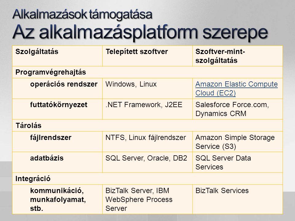 SzolgáltatásTelepített szoftverSzoftver-mint- szolgáltatás Programvégrehajtás operációs rendszerWindows, LinuxAmazon Elastic Compute Cloud (EC2) futtatókörnyezet.NET Framework, J2EESalesforce Force.com, Dynamics CRM Tárolás fájlrendszerNTFS, Linux fájlrendszerAmazon Simple Storage Service (S3) adatbázisSQL Server, Oracle, DB2SQL Server Data Services Integráció kommunikáció, munkafolyamat, stb.