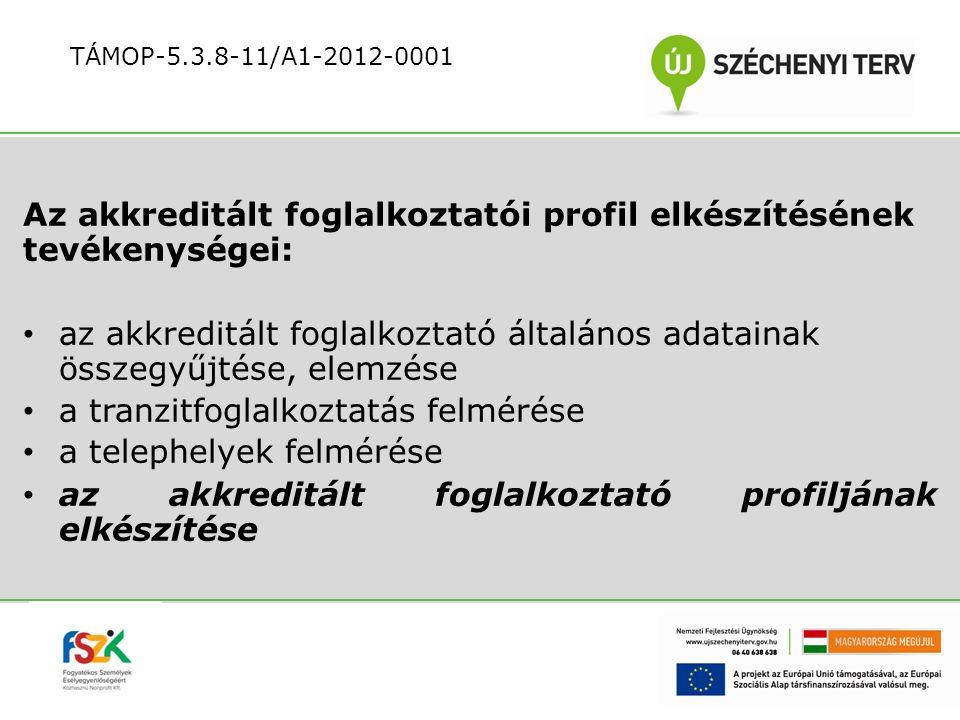 Az akkreditált foglalkoztatói profil elkészítésének tevékenységei: az akkreditált foglalkoztató általános adatainak összegyűjtése, elemzése a tranzitf