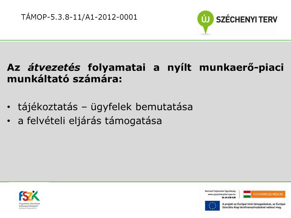 Az átvezetés folyamatai a nyílt munkaerő-piaci munkáltató számára: tájékoztatás – ügyfelek bemutatása a felvételi eljárás támogatása TÁMOP-5.3.8-11/A1