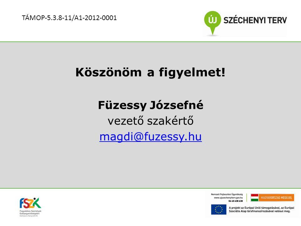 Köszönöm a figyelmet! Füzessy Józsefné vezető szakértő magdi@fuzessy.hu TÁMOP-5.3.8-11/A1-2012-0001