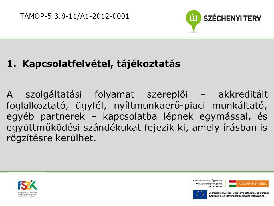 Az ügyfél nyílt munkaerő-piaci foglalkoztatását előkészítő tevékenységek: az ügyfél szükségleteire, igényeire épülő szolgáltatások meghatározása, szolgáltatási kosár megajánlása Egyéni Munkavállalási Terv elkészítése Együttműködési Megállapodás aláírása TÁMOP-5.3.8-11/A1-2012-0001
