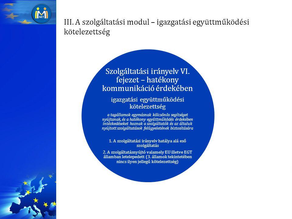 III. A szolgáltatási modul – igazgatási együttműködési kötelezettség Szolgáltatási irányelv VI. fejezet – hatékony kommunikáció érdekében igazgatási e