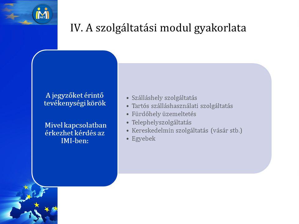 IV. A szolgáltatási modul gyakorlata Szálláshely szolgáltatás Tartós szálláshasználati szolgáltatás Fürdőhely üzemeltetés Telephelyszolgáltatás Keresk