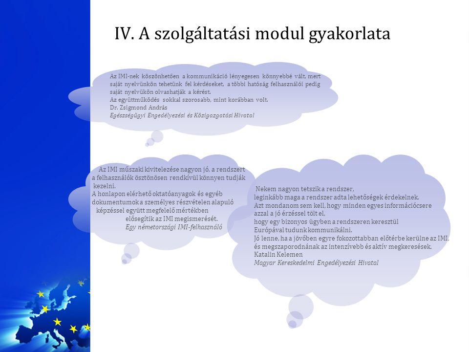 IV. A szolgáltatási modul gyakorlata Az IMI-nek köszönhetően a kommunikáció lényegesen könnyebbé vált, mert saját nyelvünkön tehetünk fel kérdéseket,