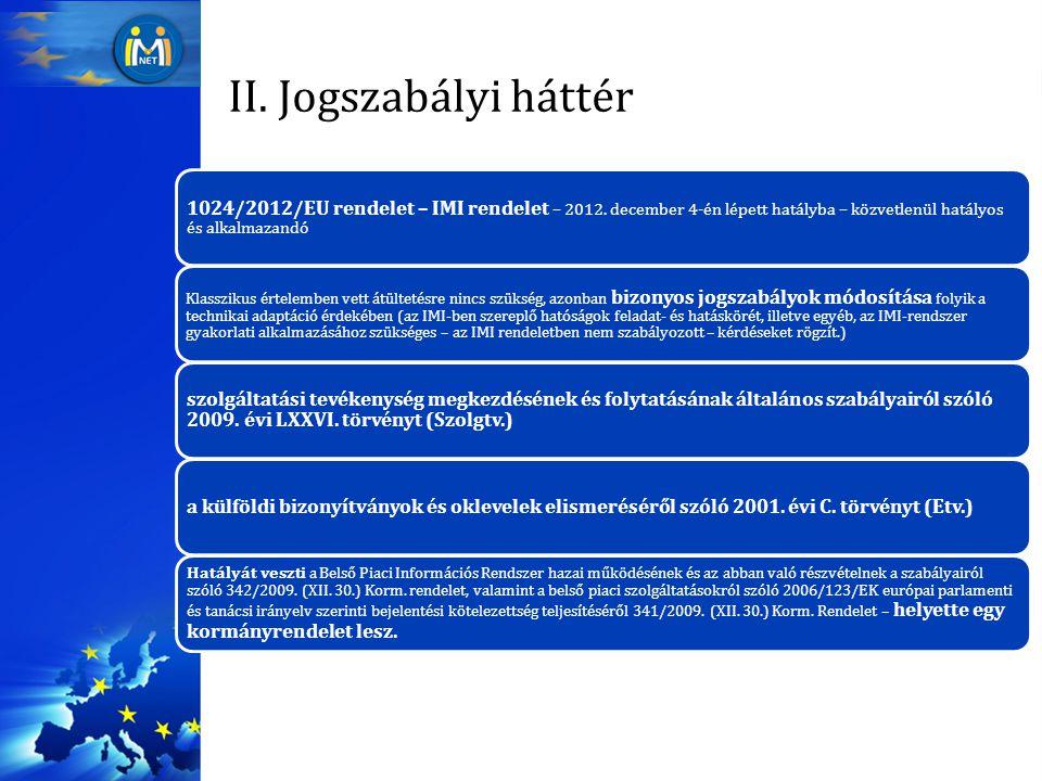 II. Jogszabályi háttér 1024/2012/EU rendelet – IMI rendelet – 2012. december 4-én lépett hatályba – közvetlenül hatályos és alkalmazandó Klasszikus ér