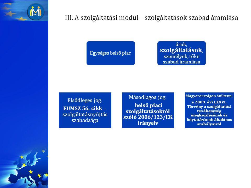 III. A szolgáltatási modul – szolgáltatások szabad áramlása Egységes belső piac áruk, szolgáltatások, személyek, tőke szabad áramlása Elsődleges jog:
