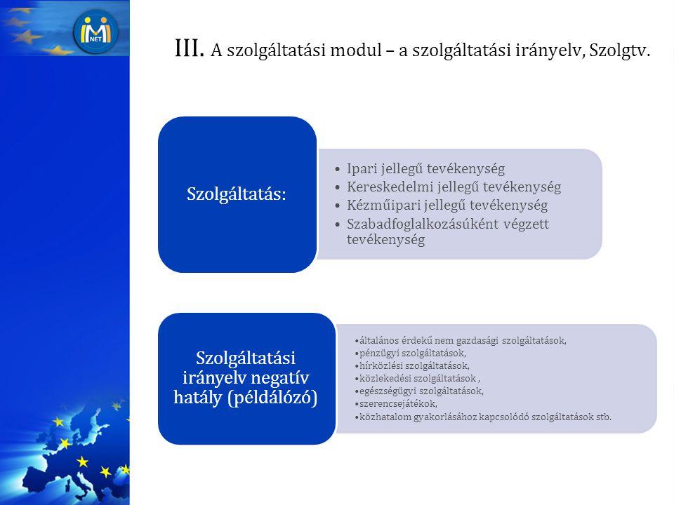 III. A szolgáltatási modul – a szolgáltatási irányelv, Szolgtv. Ipari jellegű tevékenység Kereskedelmi jellegű tevékenység Kézműipari jellegű tevékeny