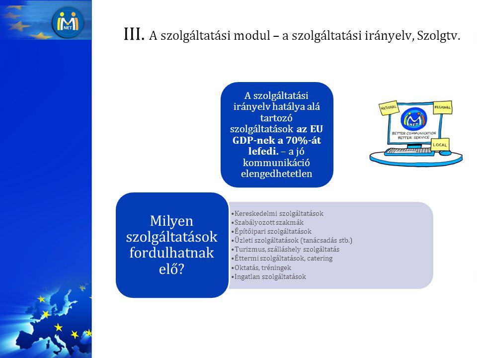 III.A szolgáltatási modul – a szolgáltatási irányelv, Szolgtv.