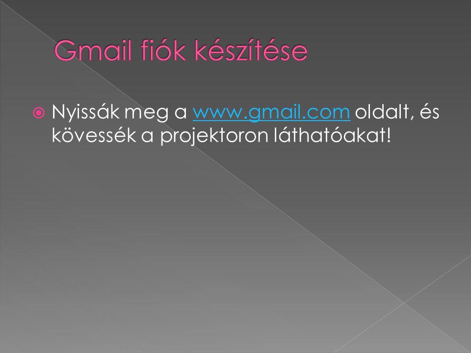  Nyissák meg a www.gmail.com oldalt, és kövessék a projektoron láthatóakat!www.gmail.com