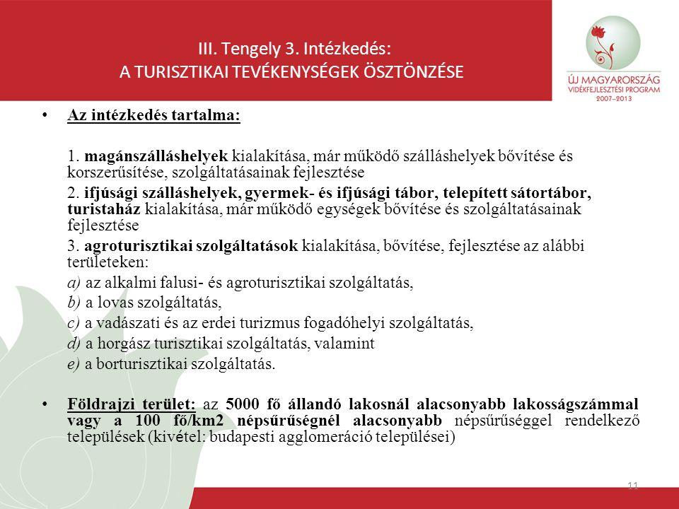 11 III. Tengely 3. Intézkedés: A TURISZTIKAI TEVÉKENYSÉGEK ÖSZTÖNZÉSE Az intézkedés tartalma: 1. magánszálláshelyek kialakítása, már működő szálláshel