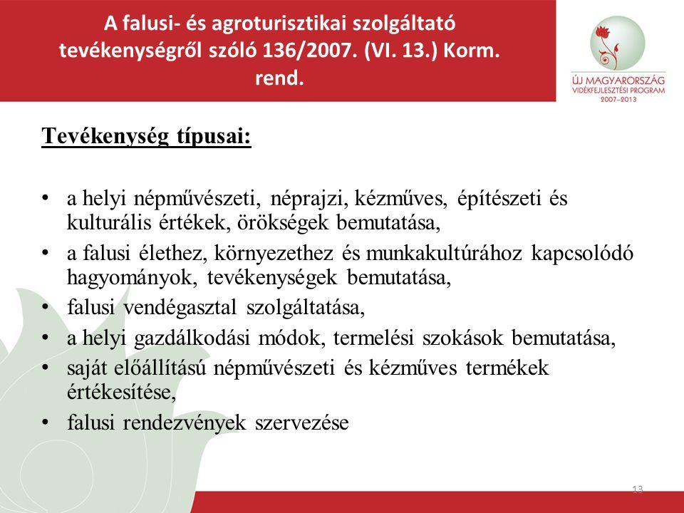 13 A falusi- és agroturisztikai szolgáltató tevékenységről szóló 136/2007. (VI. 13.) Korm. rend. Tevékenység típusai: a helyi népművészeti, néprajzi,
