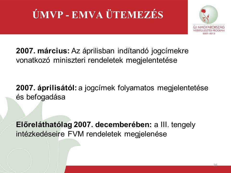 26 ÚMVP - EMVA ÜTEMEZÉS 2007. március: Az áprilisban indítandó jogcímekre vonatkozó miniszteri rendeletek megjelentetése 2007. áprilisától: a jogcímek