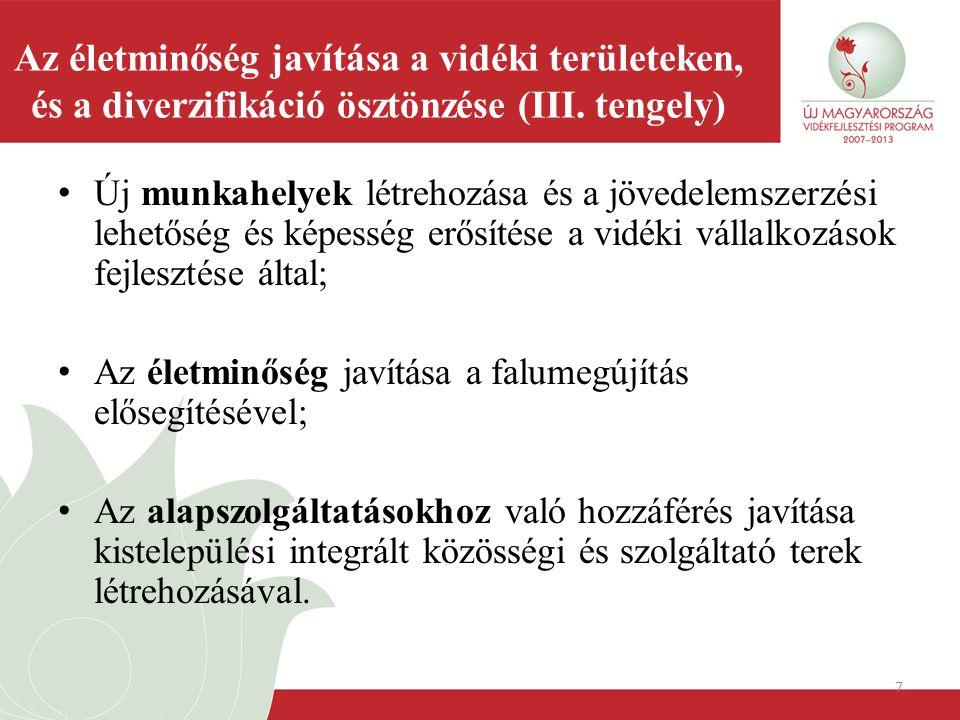 8 Intézkedések 1.Nem mezőgazdasági tevékenységgé történő diverzifikálás; 2.A mikrovállalkozások létrehozásának és fejlesztésének támogatása; 3.A turisztikai tevékenységek ösztönzése; 4.A vidéki gazdaság és lakosság számára nyújtott alapszolgáltatások; 5.Falumegújítás és –fejlesztés; 6.A vidéki örökség megőrzése; 7.Képzés és tájékoztatás; 8.Készségek elsajátítása, ösztönzés és a helyi fejlesztési stratégiák kidolgozása és végrehajtása.