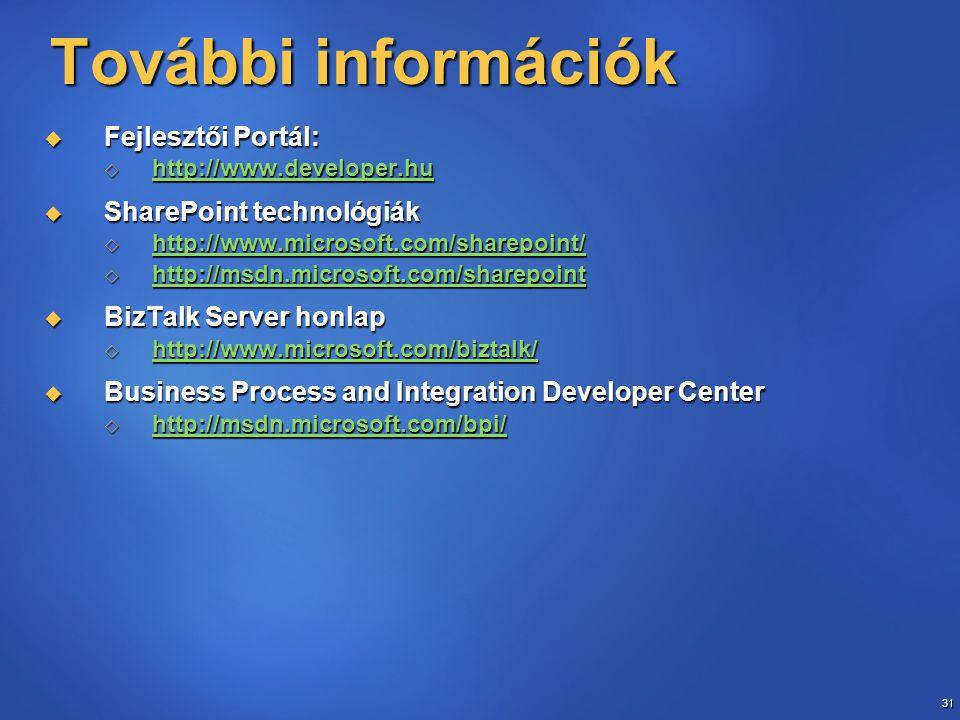 31 További információk  Fejlesztői Portál:  http://www.developer.hu http://www.developer.hu  SharePoint technológiák  http://www.microsoft.com/sharepoint/ http://www.microsoft.com/sharepoint/  http://msdn.microsoft.com/sharepoint http://msdn.microsoft.com/sharepoint  BizTalk Server honlap  http://www.microsoft.com/biztalk/ http://www.microsoft.com/biztalk/  Business Process and Integration Developer Center  http://msdn.microsoft.com/bpi/ http://msdn.microsoft.com/bpi/