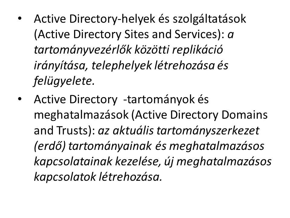 Active Directory-helyek és szolgáltatások (Active Directory Sites and Services): a tartományvezérlők közötti replikáció irányítása, telephelyek létrehozása és felügyelete.