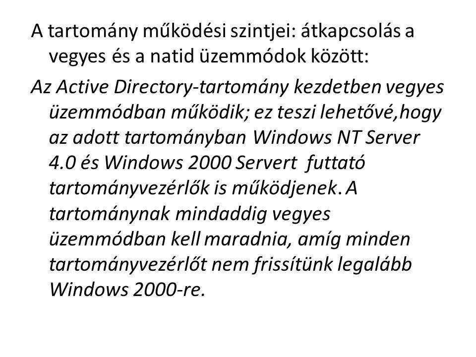 A tartomány működési szintjei: átkapcsolás a vegyes és a natid üzemmódok között: Az Active Directory-tartomány kezdetben vegyes üzemmódban működik; ez