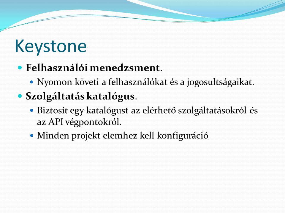 Keystone Felhasználói menedzsment. Nyomon követi a felhasználókat és a jogosultságaikat. Szolgáltatás katalógus. Biztosít egy katalógust az elérhető s