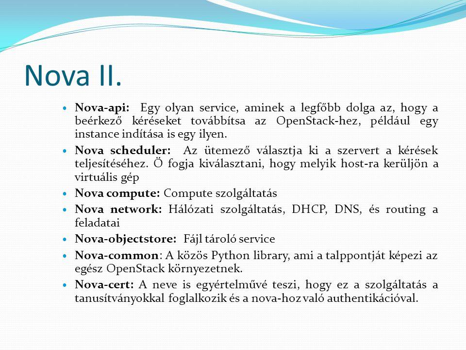 Nova II. Nova-api: Egy olyan service, aminek a legfőbb dolga az, hogy a beérkező kéréseket továbbítsa az OpenStack-hez, például egy instance indítása