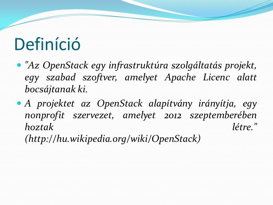 Definíció Az OpenStack egy infrastruktúra szolgáltatás projekt, egy szabad szoftver, amelyet Apache Licenc alatt bocsájtanak ki.
