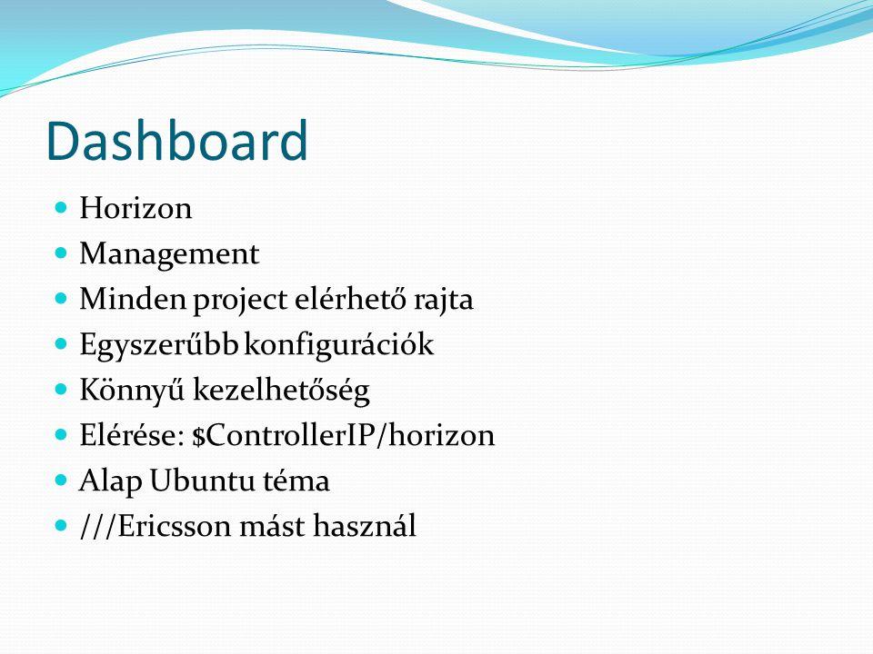Dashboard Horizon Management Minden project elérhető rajta Egyszerűbb konfigurációk Könnyű kezelhetőség Elérése: $ControllerIP/horizon Alap Ubuntu téma ///Ericsson mást használ
