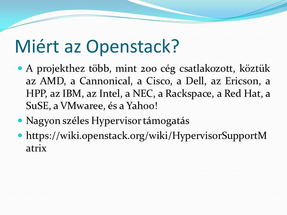 Miért az Openstack? A projekthez több, mint 200 cég csatlakozott, köztük az AMD, a Cannonical, a Cisco, a Dell, az Ericson, a HPP, az IBM, az Intel, a
