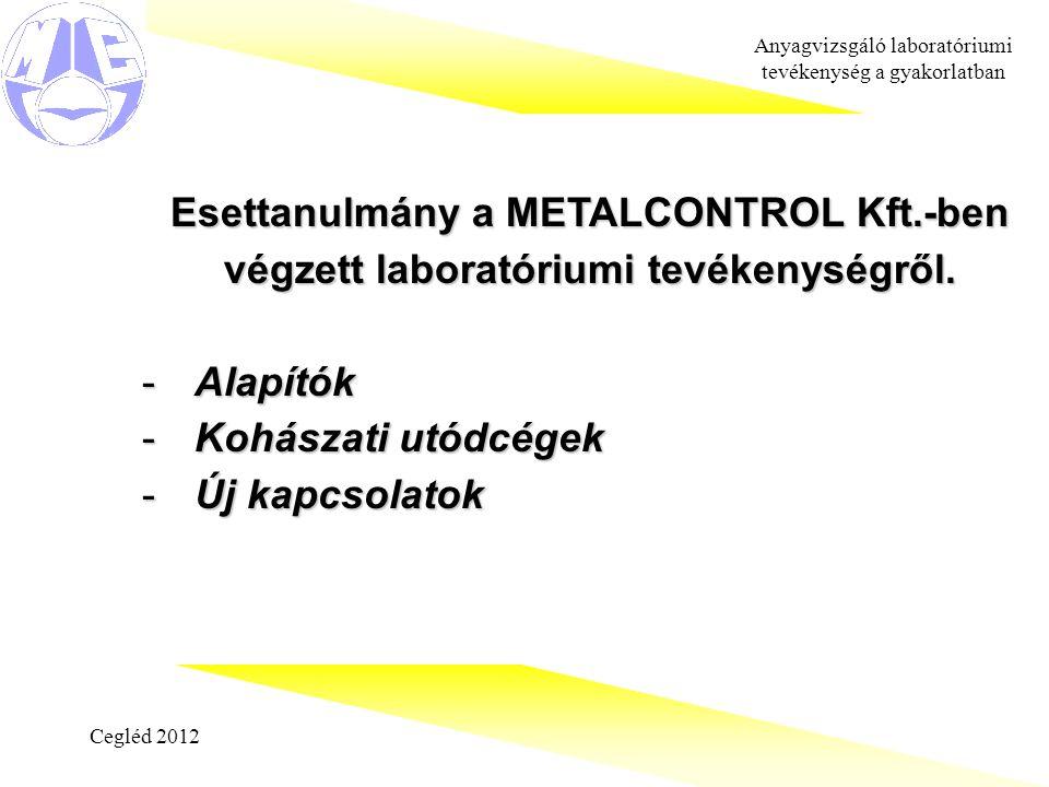 Cegléd 2012 Anyagvizsgáló laboratóriumi tevékenység a gyakorlatban Esettanulmány a METALCONTROL Kft.-ben végzett laboratóriumi tevékenységről.