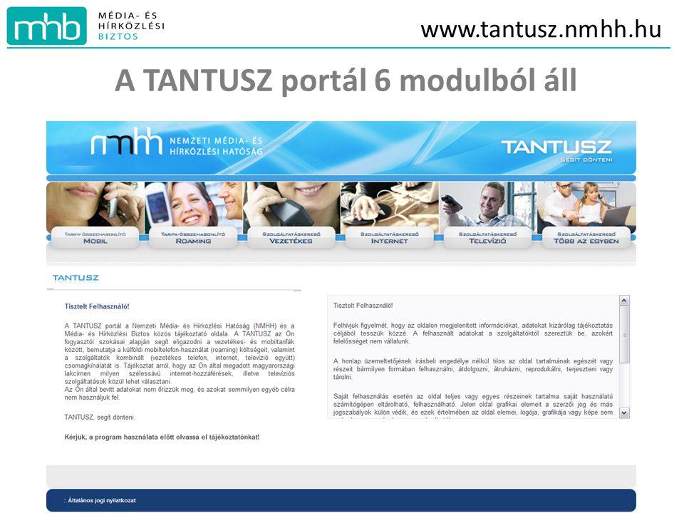 www.tantusz.nmhh.hu A TANTUSZ portál 6 modulból áll