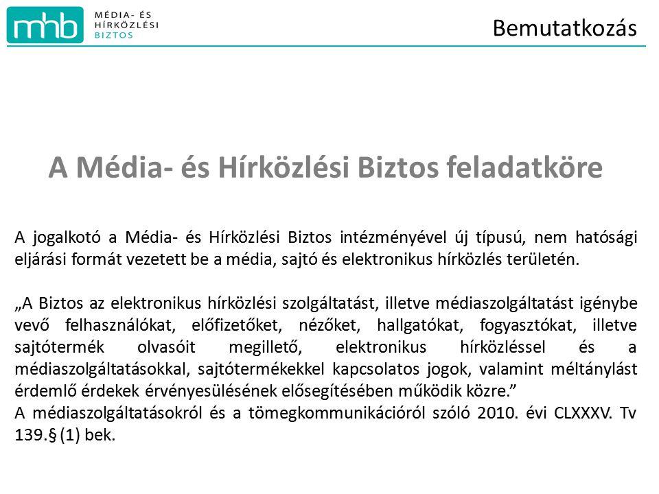 Bemutatkozás A Média- és Hírközlési Biztos feladatköre A jogalkotó a Média- és Hírközlési Biztos intézményével új típusú, nem hatósági eljárási formát vezetett be a média, sajtó és elektronikus hírközlés területén.