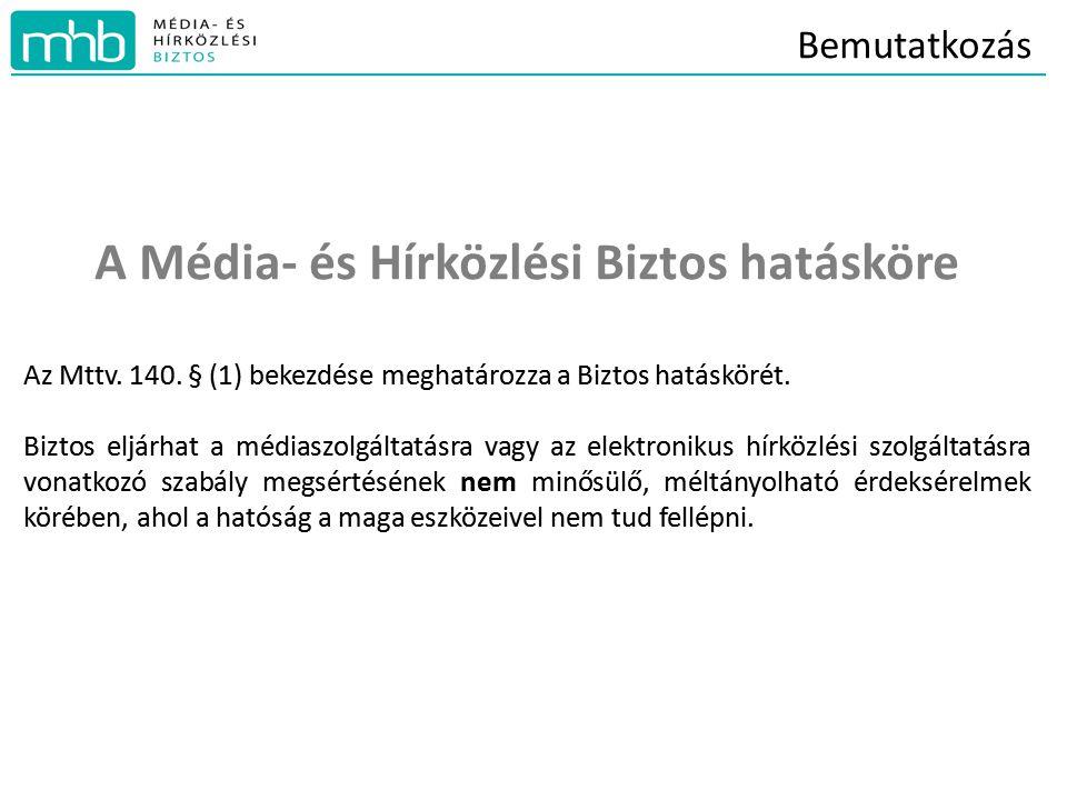 Bemutatkozás A Média- és Hírközlési Biztos hatásköre Az Mttv.