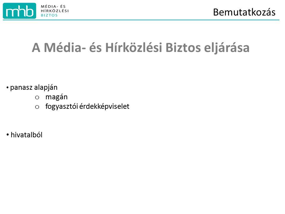 Bemutatkozás A Média- és Hírközlési Biztos eljárása panasz alapján o magán o fogyasztói érdekképviselet hivatalból