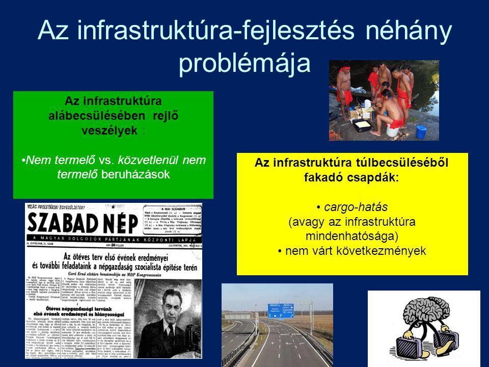 Az infrastruktúra-fejlesztés néhány problémája Az infrastruktúra alábecsülésében rejlő veszélyek : Nem termelő vs. közvetlenül nem termelő beruházások