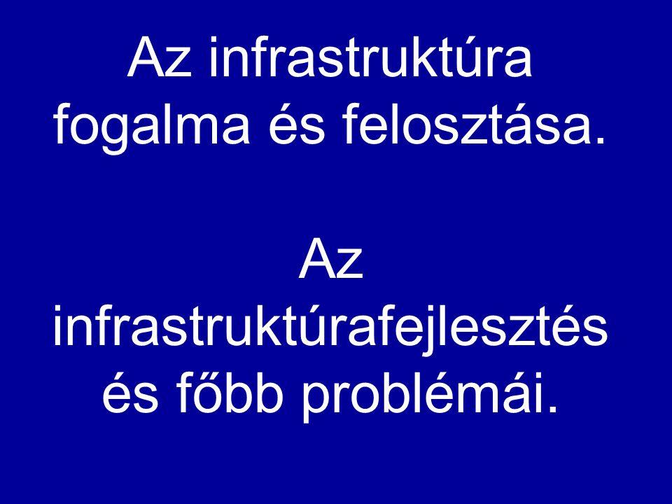 Az infrastruktúra fogalma és felosztása. Az infrastruktúrafejlesztés és főbb problémái.