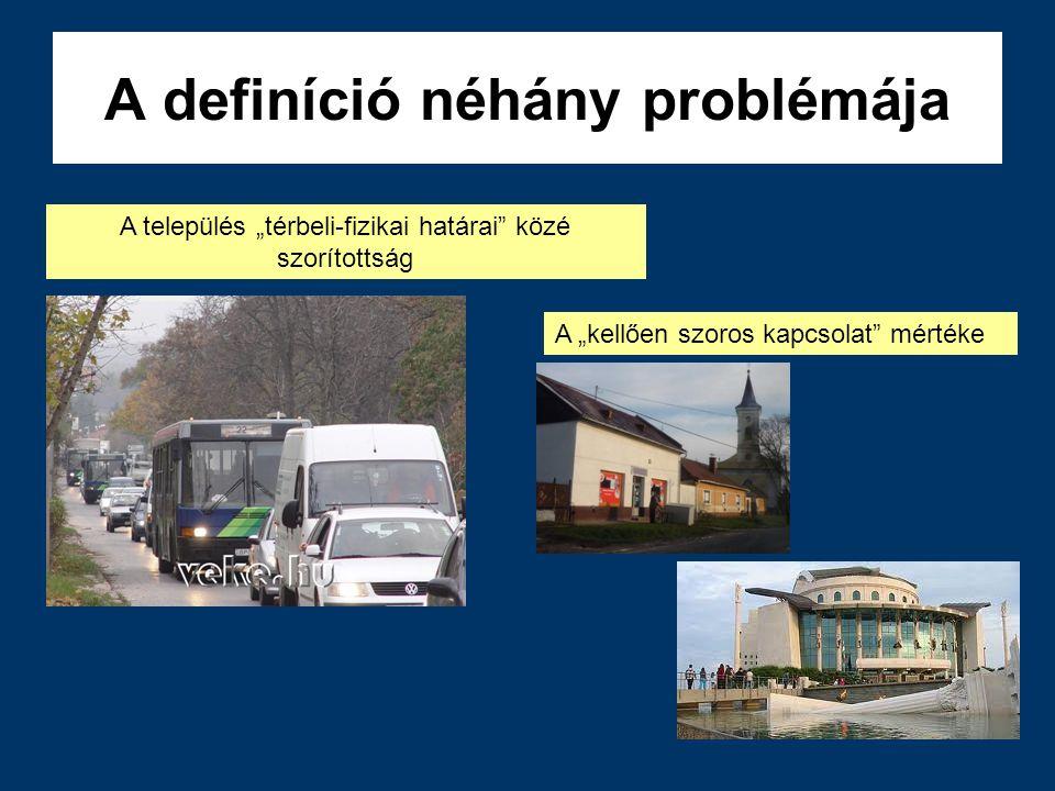 """A definíció néhány problémája A település """"térbeli-fizikai határai"""" közé szorítottság A """"kellően szoros kapcsolat"""" mértéke"""