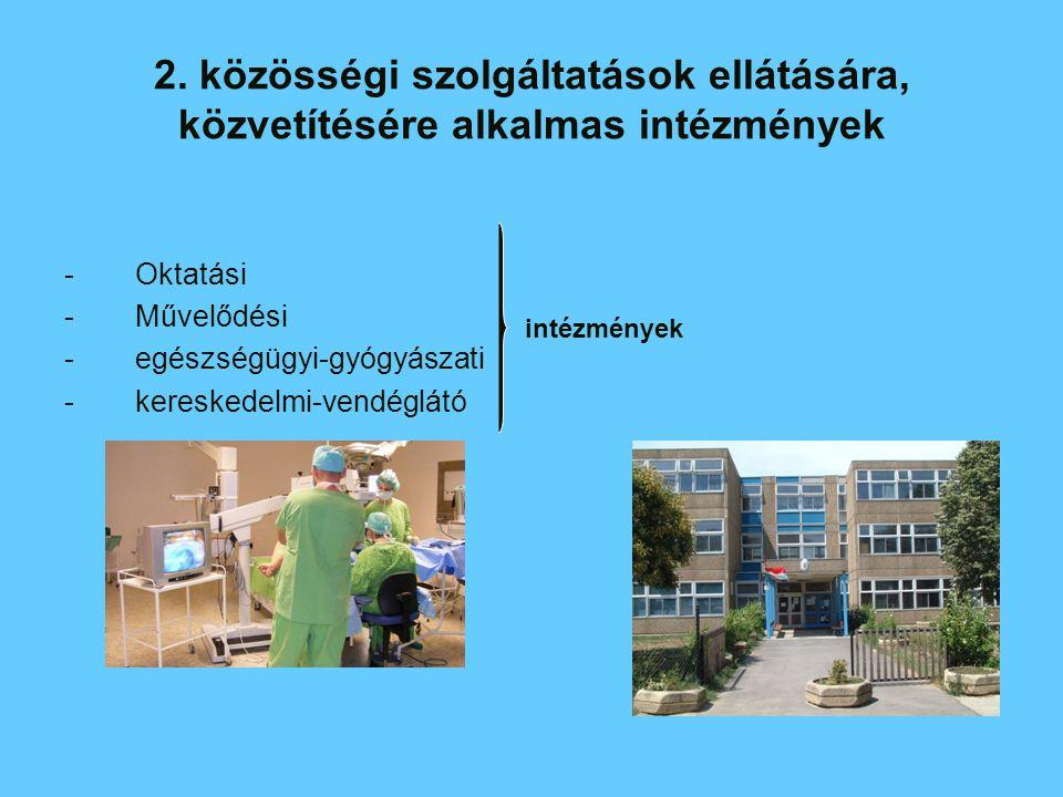 intézmények -Oktatási -Művelődési -egészségügyi-gyógyászati -kereskedelmi-vendéglátó 2. közösségi szolgáltatások ellátására, közvetítésére alkalmas in