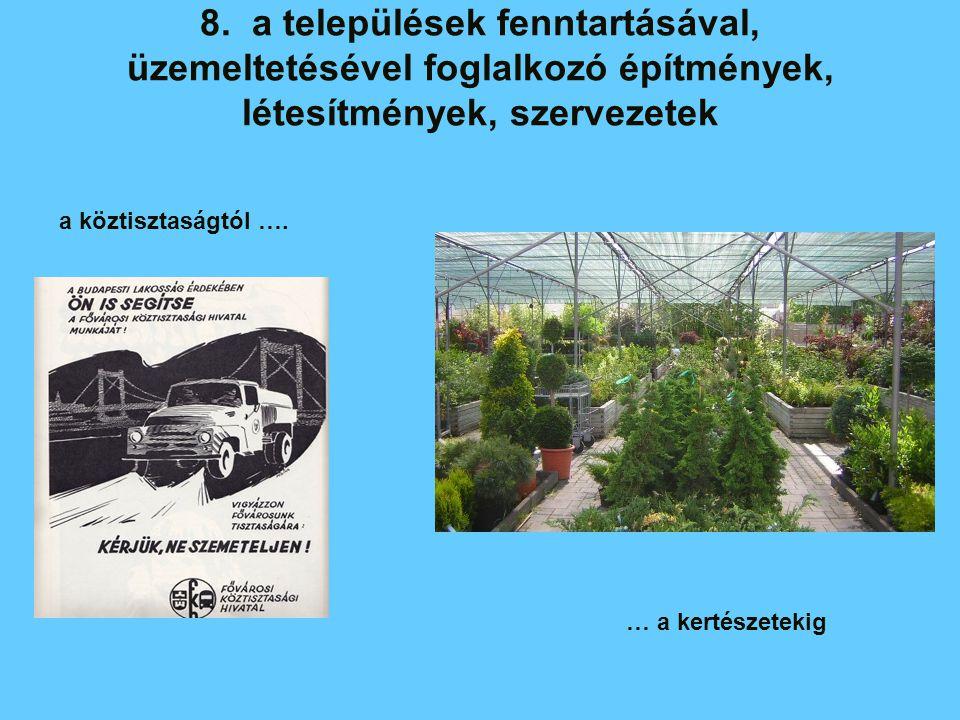 8. a települések fenntartásával, üzemeltetésével foglalkozó építmények, létesítmények, szervezetek a köztisztaságtól …. … a kertészetekig