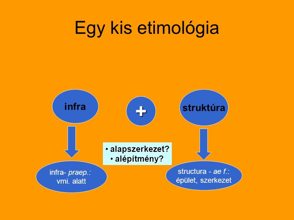 infra struktúra infra- praep.: vmi. alatt structura - ae f.: épület, szerkezet alapszerkezet? alapszerkezet? alépítmény? alépítmény? + Egy kis etimoló