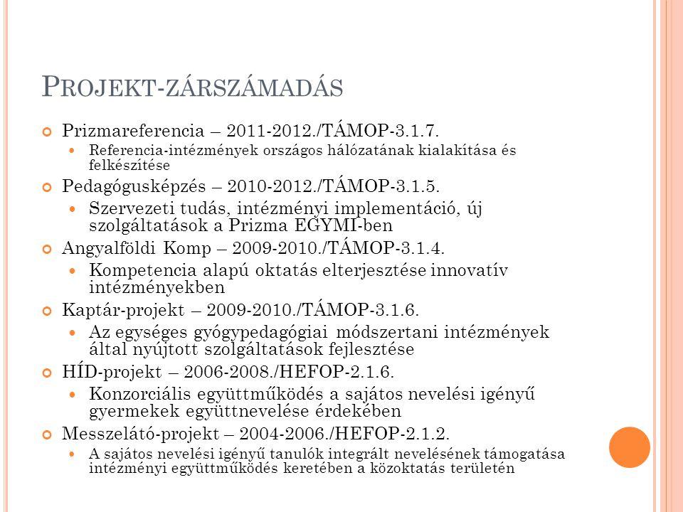 P ROJEKT - ZÁRSZÁMADÁS Prizmareferencia – 2011-2012./TÁMOP-3.1.7. Referencia-intézmények országos hálózatának kialakítása és felkészítése Pedagóguskép