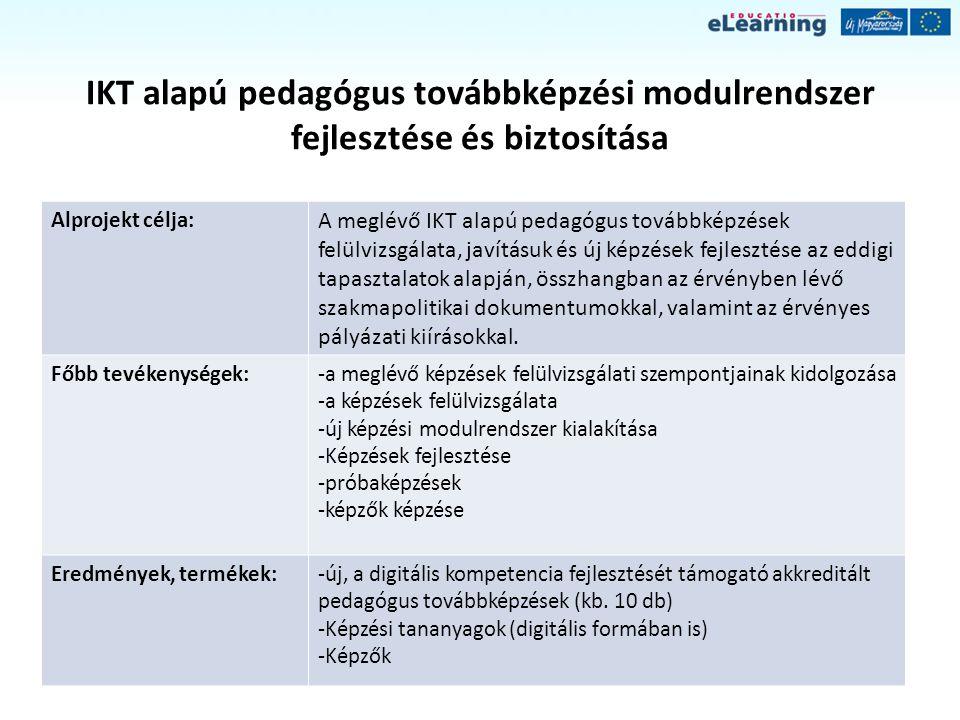 IKT alapú pedagógus továbbképzési modulrendszer fejlesztése és biztosítása Alprojekt célja: A meglévő IKT alapú pedagógus továbbképzések felülvizsgála