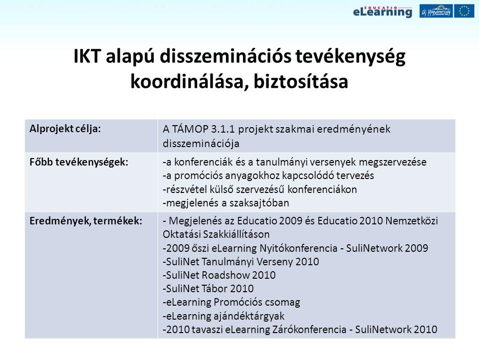IKT alapú disszeminációs tevékenység koordinálása, biztosítása Alprojekt célja: A TÁMOP 3.1.1 projekt szakmai eredményének disszeminációja Főbb tevéke