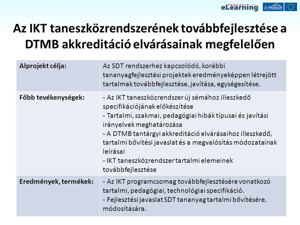 Az IKT taneszközrendszerének továbbfejlesztése a DTMB akkreditáció elvárásainak megfelelően Alprojekt célja:Az SDT rendszerhez kapcsolódó, korábbi tan