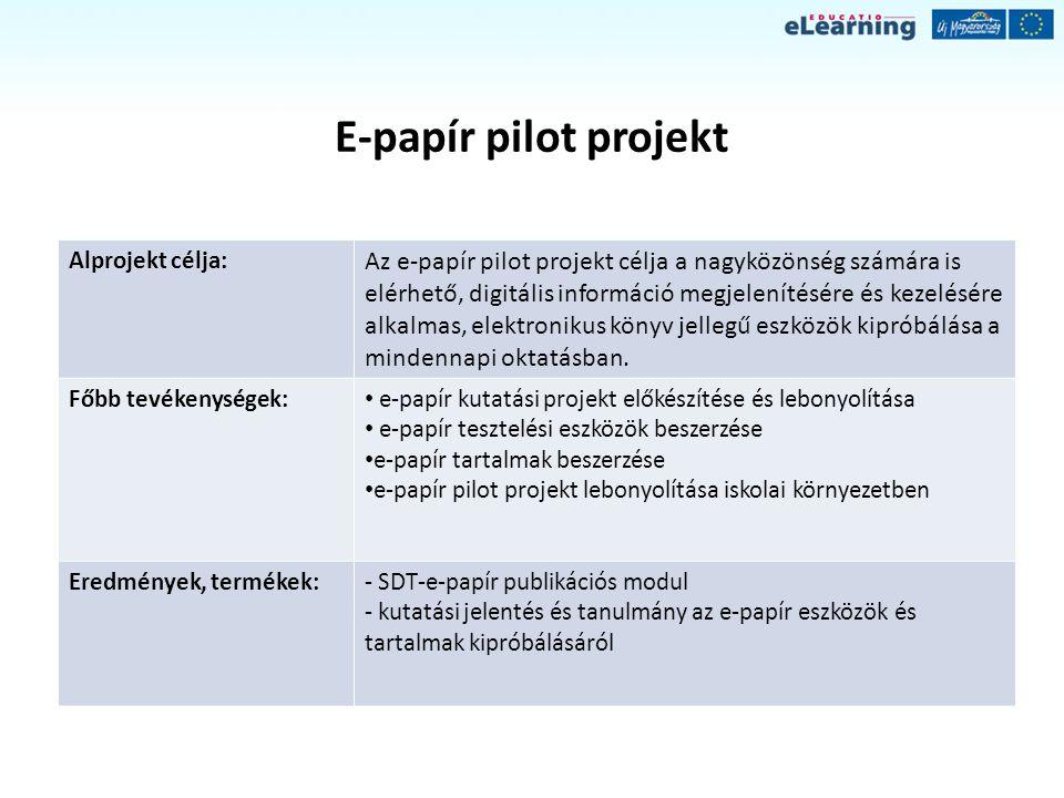 E-papír pilot projekt Alprojekt célja: Az e-papír pilot projekt célja a nagyközönség számára is elérhető, digitális információ megjelenítésére és keze